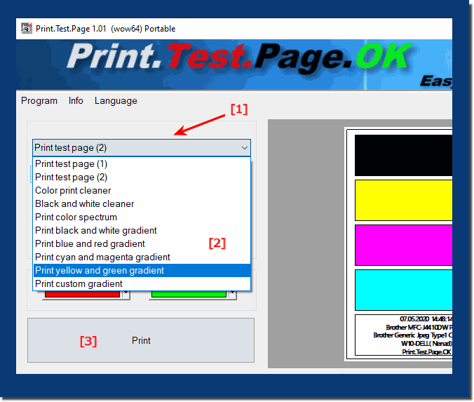 The alternative test page printout on Windows operating systems!