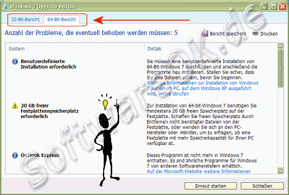 Der 32-Bit und 64-Bit Windows 7 Upgrade Advisor Bericht