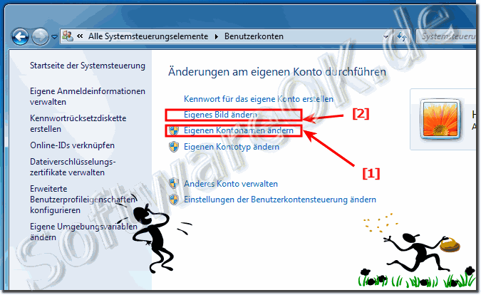 Windows-7 Usernamen der Benutzerkonten �ndern
