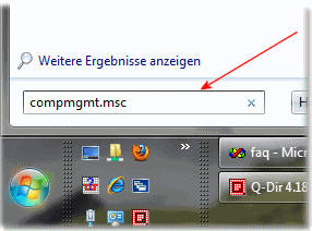 Computerverwaltung �ber das Windows Sieben Startmen�