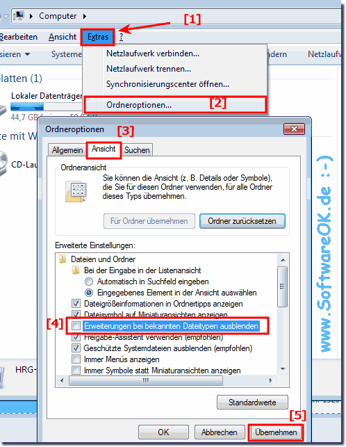 Dateiendungen �ndern in Windows-7