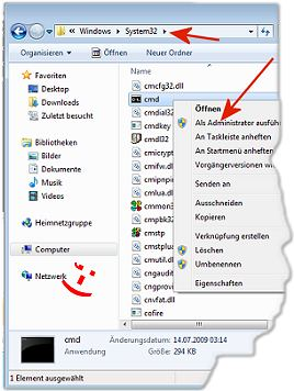 Eingabeaufforderung als Administrator starten in Windows 7