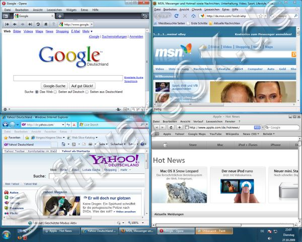 Windows-7 Firefox 3.5 / Opera 10/ Internet-Explorer 8 / Safari 3.5