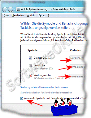Infobereich Anpa�en in Windows-7