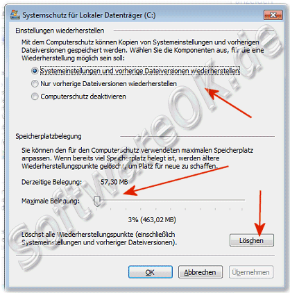 Optionen Wiederherstellung in Windows-7