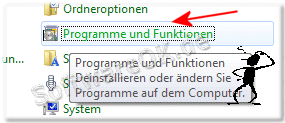 Windows 7 Programme und Funktionen