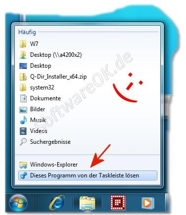 Windows-7 Taskleiste Programme entfernen