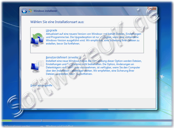 Windows Sieben Reparieren via Upgrade
