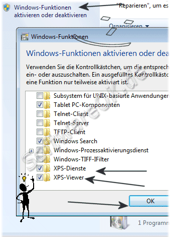 Windows 7 XPS-Dienste deaktivieren